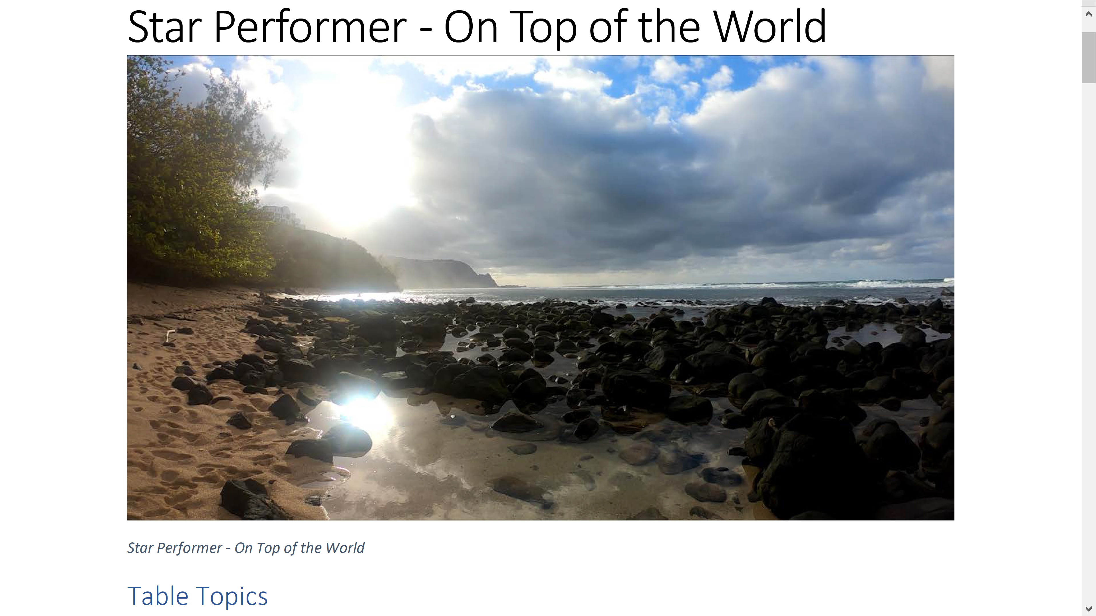 Star Performer On Top of the World Table Topics. Copyright by Steve J Davis. All Rights Reserved. https://starperformer.info